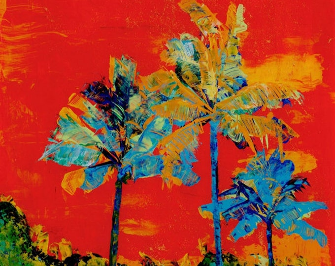 Tropical palm trees, Kauai art prints, tropical art, hawaiian print, housewarming gift, boho, tropical decor, palm leaves, coconut palms