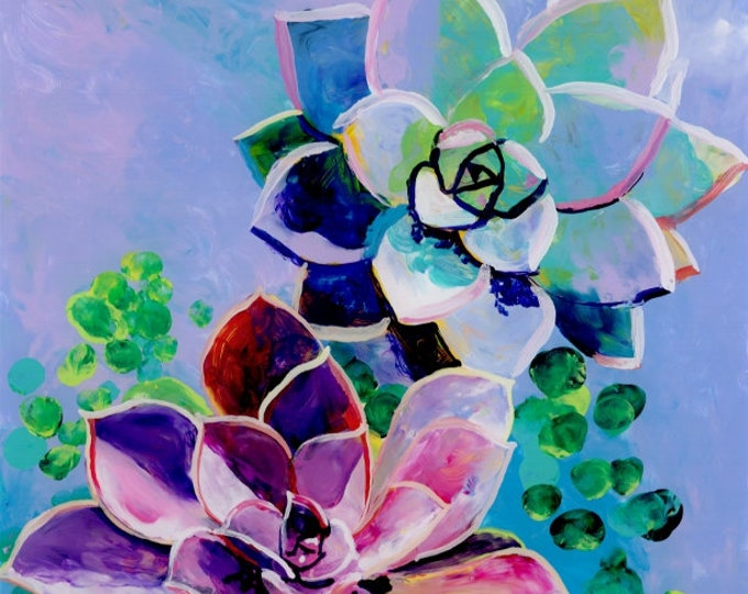 Succulent Painting, Rosette Succulents, Cactus Paintings, Cactus Decor, Hawaii Art, Hawaiian Paintings, Tropical Art, Exotic Succulents