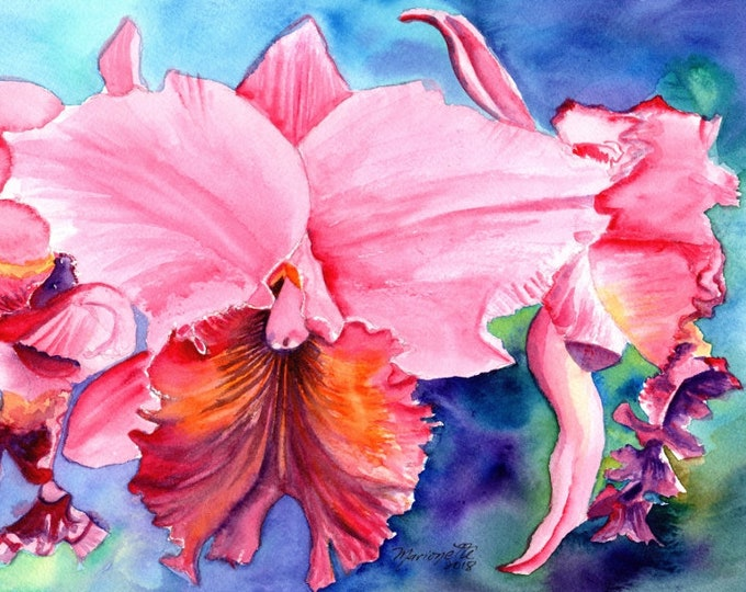 Pink Orchids, Orchid Art Print, Orchid Paintings, Tropical Orchids, Tropical Flower Art, Kauai Fine Art, Hawaiian Paintings, Hawaii Decor