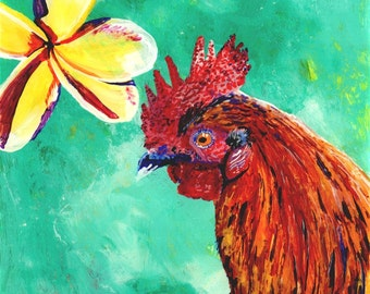 Rooster art prints,  tropical art decor, chicken paintings, kitchen art prints, rooster and flower art, Hawaiian rooster art, chicken prints