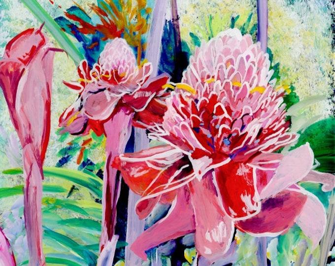 Torch Ginger Art Print, Hawaiian art, ginger flower, tropical flowers, torch ginger painting, tropical garden, Hawaii paintings, Hawaii art
