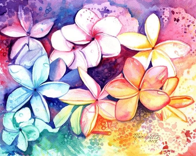 Plumeria Watercolor, Original Plumeria Art, Tropical Flowers, Frangipani Art, Kauai Art, Original Hawaiian Painting,  Aloha Flowers Rainbow