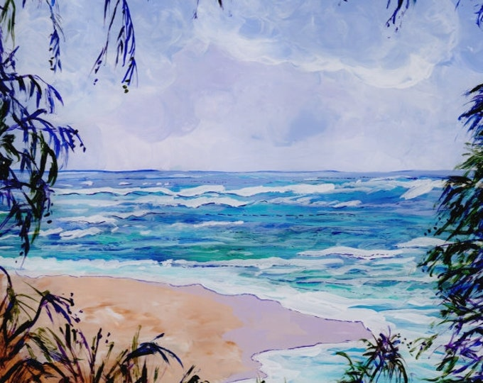 Hawaii Beach Art, Hawaii Decor, Hawaiian Painting, Tropical Beaches, North Shore of Kauai, Kauai Paintings, Hanalei Bay Art