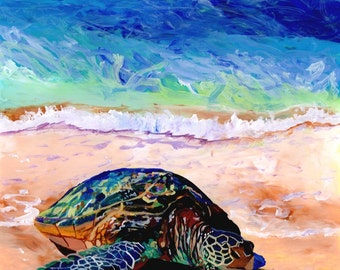green sea turtle art, sea turtle print, hawaiian honu, turtle painting, hawaiian turtle, turtle art prints, turtle ocean art