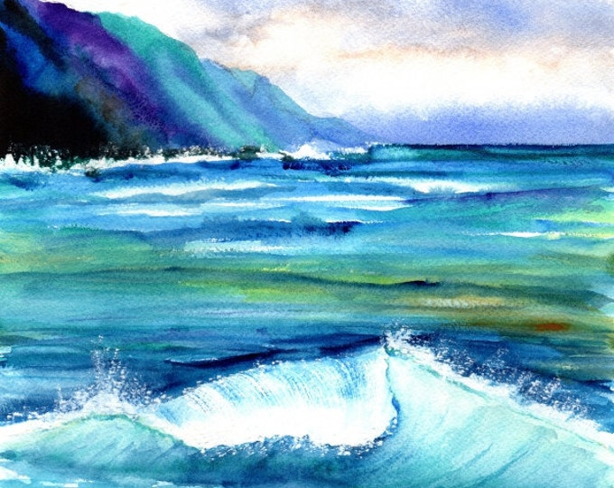 kauai art print hanalei sea ocean beaches sand hawaiian paintings artwork giclee print tropical painting kauaiartist marionette beach