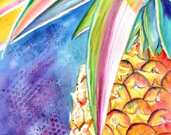 Pineapple Watercolor, Original Pineapple Art, Tropical Fruit, Kauai Art, Original Hawaiian Painting,  Colorful Pineapples, Hawaii Decor