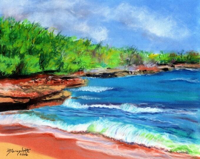 hawaii art print, kauai beach art, kauai paintings, kauai fine art, hawaiian art, mahaulepu beach, ocean art, beach art