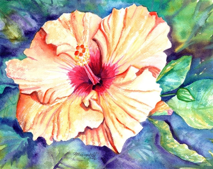 hibiscus art, orange hibiscus prints, flower print, hawaiian art, hibiscus paintings, kauai maui oahu,  hawaiiana, tropical flowers