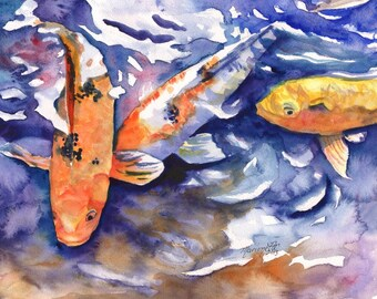Koi art print, koi fish art, asian koi paintings, koi pond, orange koi, yellow koi, gifts for him, orange and black koi, feng shui art