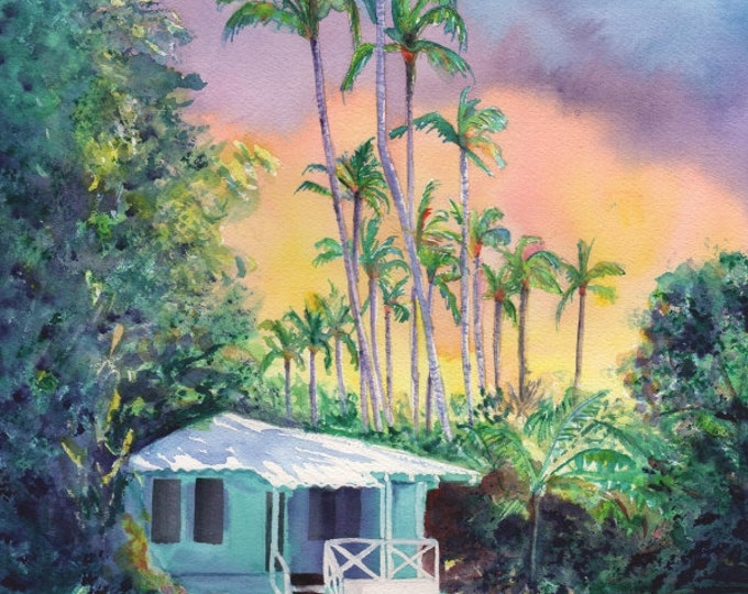 kauai plantation cottage, kauai art, hawaii prints, hawaii art, hawaiian paintings, kauai giclee, waimea cottages, tropical sunsets, houses