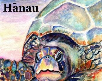 Printable DIY Happy Birthday Hawaiian Language card 5x7 pdf from Kauai Hawaii Hau'oli La Hanau Sea Turtle