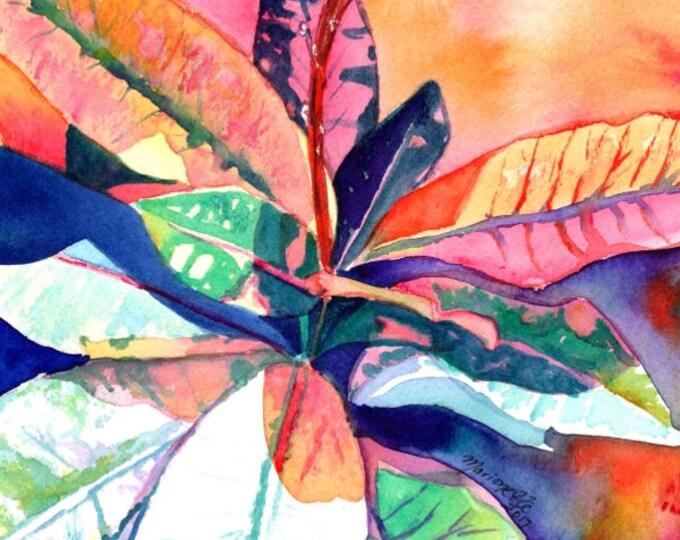 Tropical Leaves, Original Watercolors, Croton Paintings,  Tropical Plant Paintings, Tropical Leaf Art, Kauai Fine Art, Wall Art, Hawaii