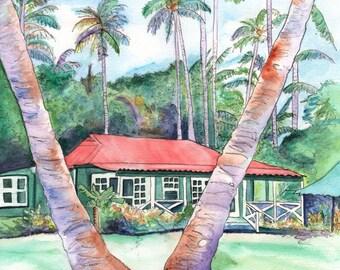 Kauai Plantation Cottage, Kauai art print, Kauai painting, Waimea Plantation Cottages, Tropical House, Hawaiian Vacation, Hawaii art