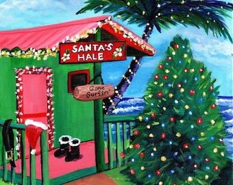 Hawaii Christmas Art on Canvas, Mele Kalikimaka Wall Art, Hawaiian Surf Santa, Kauai Christmas Plantation Cottage, Tropical Christmas