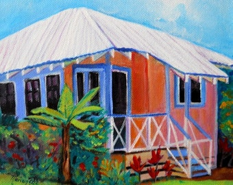 Waimea Cottage, Square Art Print, Kauai art,  Plantation House, Waimea Plantation Cottages, Tropical House, Hawaiian Art,