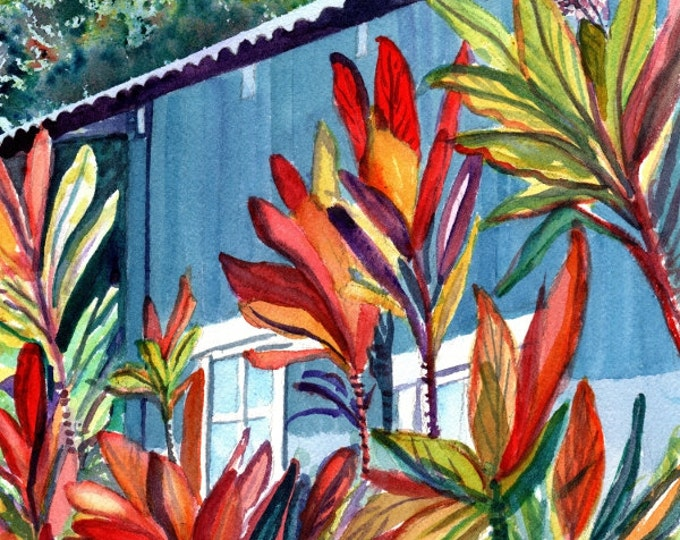 kauai plantation house art print tropical cottages prints hawaiian paintings marionette taboniar kauai art galleries hanapepe towne