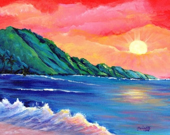 Na Pali Coast Sunset, Original Kauai Paintings, Hawaiian Beach Paintings, Sunset Art Decor, Kauai Hawaii Art, Kee Beach Art, Kauai Beaches