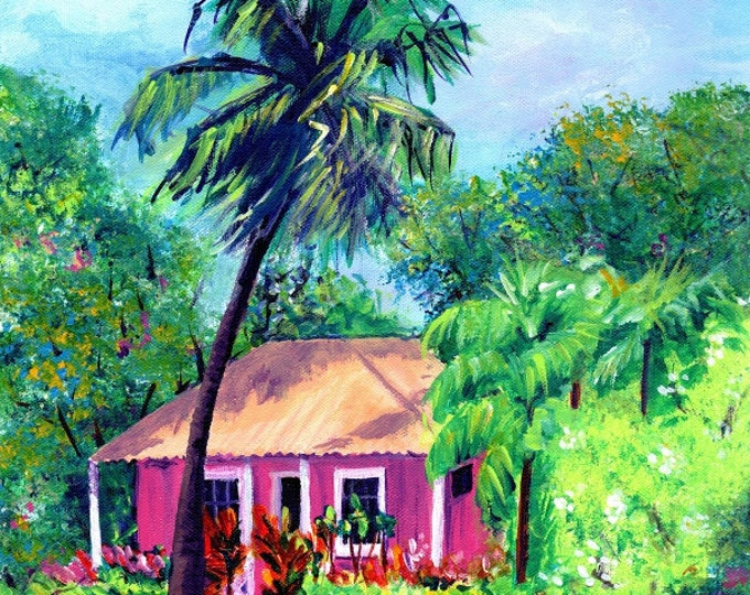 Pink Cottage, hawaiian paintings, art print, Kauai art. Hawaii art, tropical pink Hawaiian art old plantation house kauaiartist