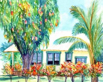 kauai cottage with mangoes print from kauai hawaii plantation house tropical Kauai art prints hawaiian decor hawaii art kauaiartist
