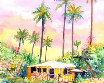 Yellow Kauai Cottage prints from Kauai Hawaii yellow house tropical Kauai art prints Hawaiian decor Hawaii art fine art gallery