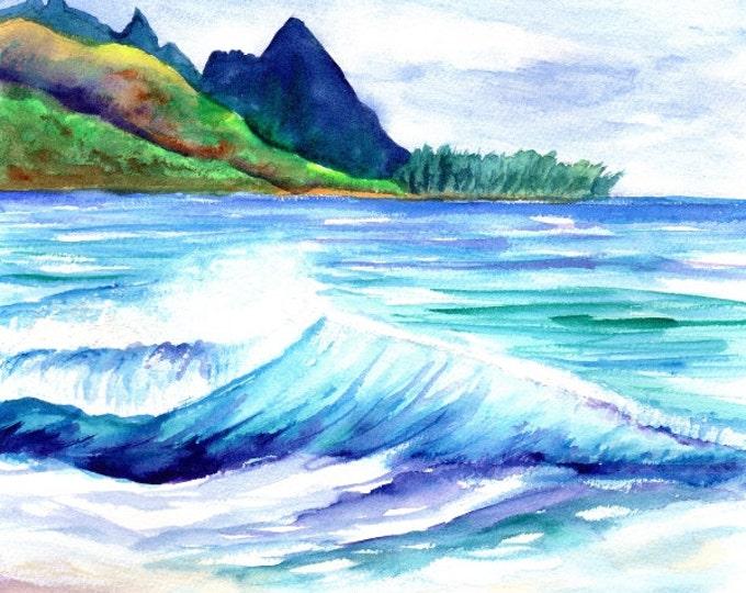 Kauai Tunnels Beach - Kauai Art Print - Watercolor Prints - Kauai Art Prints - Hawaii  Art - Hawaiian Art - Makana Mauka