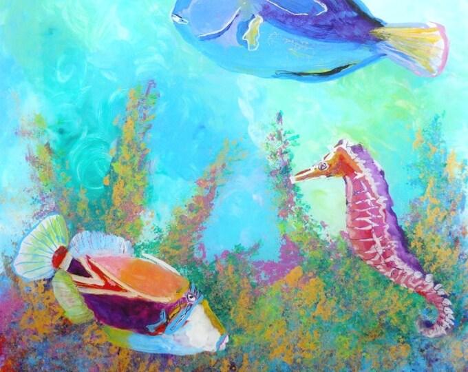 Hawaiian tropical fish art, square print, trigger fish art, seahorse art,  ocean paintings, hawaii sea life,  fish art prints, under the sea