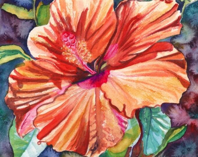 Tropical Hibiscus, Orange Hibiscus, Hibiscus Print, Hibiscus Art, Tropical Flower art, Hawaii art, Hawaiian Hibiscus, Hawaiiana
