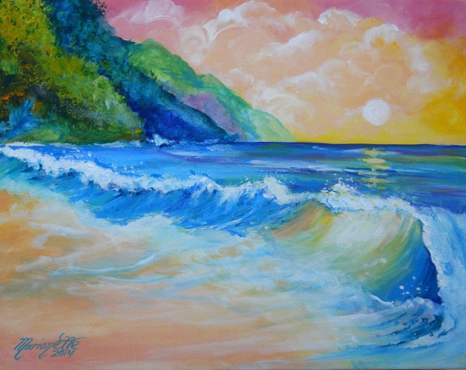 North Shore Sunset Original Acrylic Painting  from Kauai Hawaii by Marionette blue green teal aqua pink ocean wave sand ocean wave