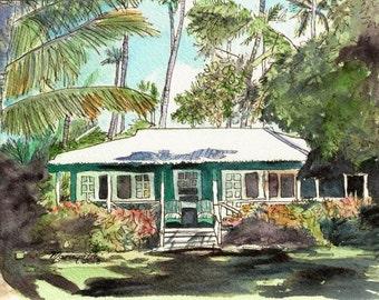 Kauai Cottage art, Kauai print, Waimea Cottages, Hawaii art, Hawaii Painting, Green House, Green Cottage, Old Plantation Cottage, Hawaiian