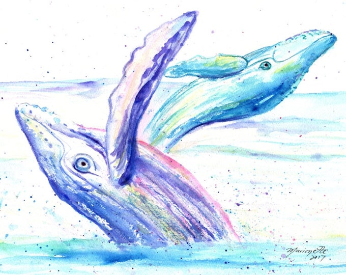 Humpback Whales  original watercolor paintings, whale art, nursery decor, kids room art, kauai fine art, ocean under the sea, baby room
