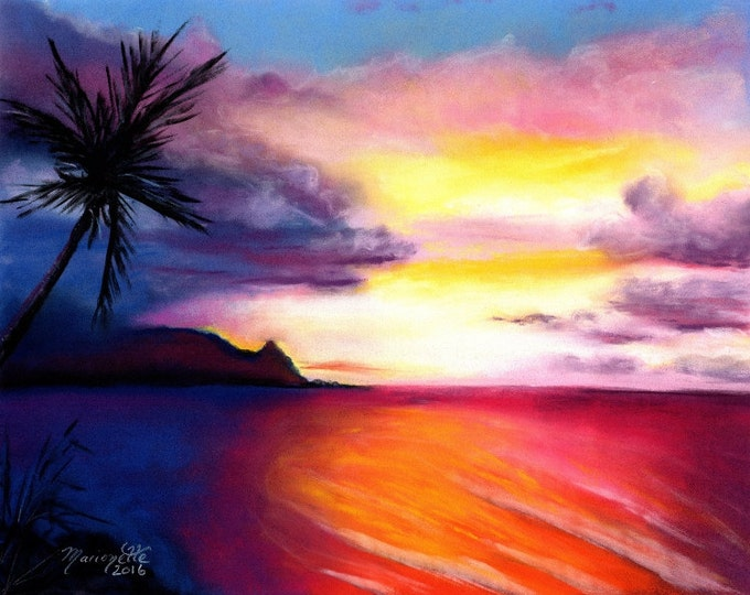 Hanalei Bay, Kauai Art, Kauai Art Prints, Hanalei Sunset Print, Kauai Paintings, Kauai North Shore Art, Hawaiian Sunset, Kauai Beach Art