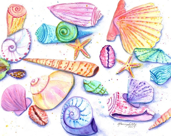 seashells watercolor, seashell paintings, nursery art, childrens art, baby's room,  original watercolors,  ocean life whimsical