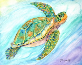 Turtle art prints baby shower gift beach decor nursery wall art ocean turtles sea turtle painting  honu beach cottage decor