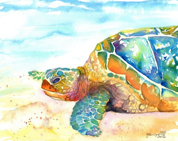 Turtle Fine Art Print  - Kauai Art - Hawaiian Honu Painting - Childrens Wall Art - Ocean Sea Decor - Sea Turtle Prints - Beach Art