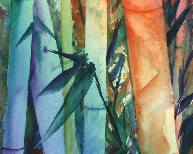 Bamboo art prints, rainbow bamboo, colorful paintings, Kauai Maui Hawaii art, Japanese bamboo, asian zen, whimsical bamboo, Oriental art