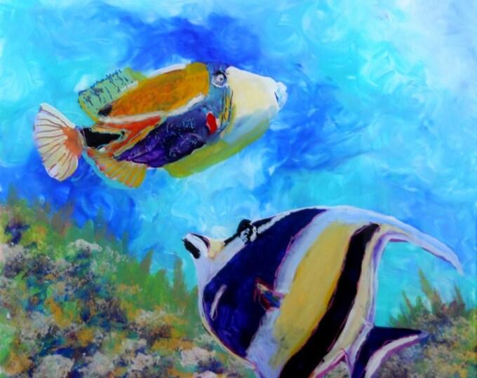tropical fish art, moorish idol art, hawaiian art, ocean fish art, hawaiian fish art, gifts for him, kauai art, hawaii art, humu fish art