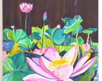 Lotus Flower Original Acrylic Painting from Kauai Hawaii, Pink Lotus Garden, Tropical Flower Art, Zen Water Gardens Hawaiian Interior Design