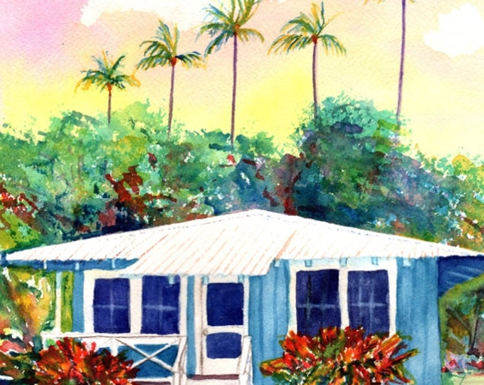 Hawaii Decor, Plantation House Art, Kauai Painting, Hawaii Art Print, Tropical Art, Old Plantation Cottage, Kauai Art