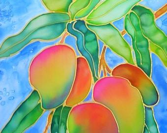 Mango art, Hawaiian Mangoes, Mango print, Hawaiian fruit, Hawaii art, Hawaiian painting, Kauai art, tropical fruit, colorful mangoes