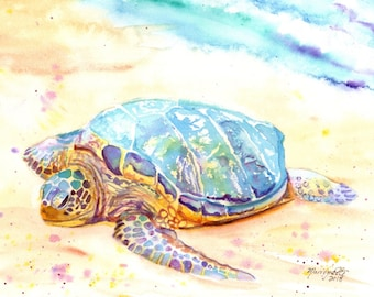 Sea Turtle Print,  Kauai Art, sea turtle, Hawaii art, turtle painting, ocean art, Hawaii painting, tropical art, turtle print, Hawaii decor
