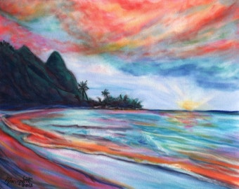 Kauai Sunset print,  Bali Hai,  Kauai art, Hawaiian seascape, Ocean Sunsets, tropical sunsets, Hawaii art