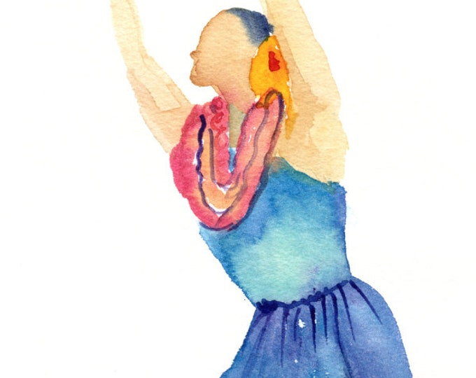 Hula Watercolor,  Original Hula Girl Painting,  Hula Dance,  Modern Hula, Hula Art, Hawaii Decor, Hawaii Art, Hawaii Watercolor Paintings