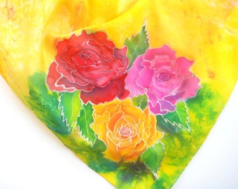 rose scarf handpainted scarf roses for mom mothers day gift hand painted silk handmade scarves square silk scarf floral silk scarf gifts
