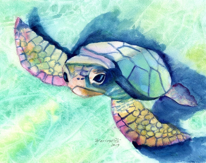 sea turtle original watercolor hawaii art hawaii painting ocean art kauai tropical art turtle painting honu hawaii turtle turtle art turtles