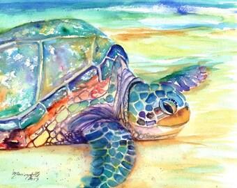 Sea Turtle Fine Art Print,  Kauai Art, Turtles, Hawaiian Honu Paintings, Childrens Wall Art, Ocean Sea Decor, Animal Prints, Beach Art