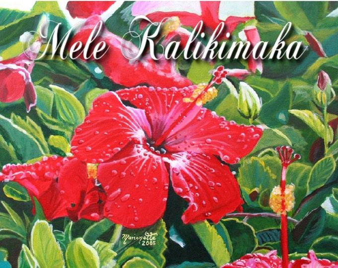 Hawaii Christmas, Mele Kalikimaka Card, Red Hibiscus Christmas, Xmas Cards, DIY Christmas Cards, Printable Christmas Card, Hawaiian Holiday