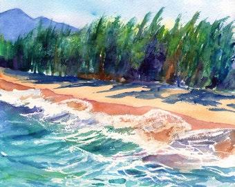 Kauai Beach print from Hawaii Giclee Wall Art Decor Seascape Vacation blue green teal sand tropical