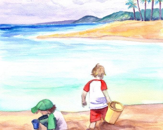 Kids at the Beach, Childrens Wall Art, Beach Boys, Ocean Decor, Beach Art, Keiki, playing in sand, Poipu Beach Kauai, Kauai Art,
