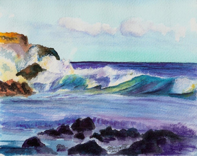 Kauai seascape, Hawaii beaches, ocean waves, large surf, Kauai paintings, Hawaiian art, ocean art print, Kauai ocean art