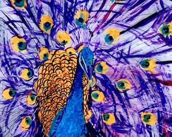 Peacock art, Tropical Bird Art, Whimscial Animal Art,  Kids Room Art, Purple Peacocks, Colorful Bird prints, peafowl, peacock paintings